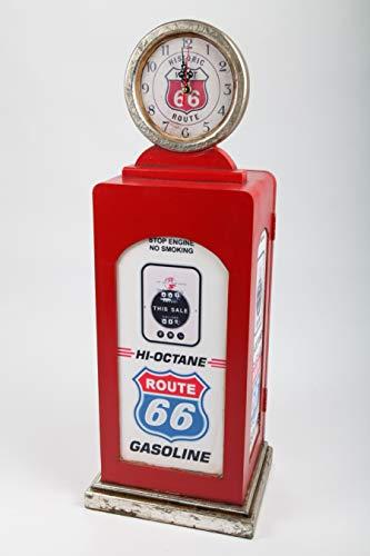 point home Design-Lampe Zapfsäule, LED Standleuchte mit Uhr, rot, 70cm