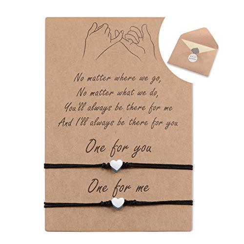 VGWON 2PCS Pinky Promise Distance Matching Friendship Heart Bracelets for Couples Women Teen Girls Mother Daughter Best Friend Birthday Gift