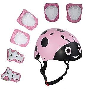 UniqueFit Lucky-M - Juego de 7 Almohadillas Protectoras para Deportes al Aire Libre para niños y niñas (Rodilleras, Coderas y muñequeras) (Rosa Escarabajo)