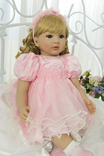 Zero Pam 24 inch Real Looking Reborn Baby Dolls Girls with Blonde Hair,Caucasian Girls Princess Dolls Blue Eyes,Realistic Reborn Toddler Dolls for Girls