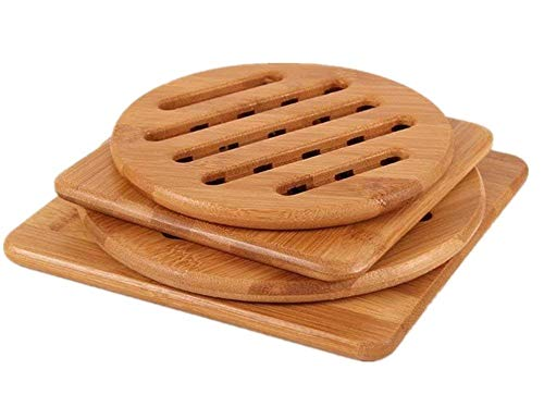 Bamboo Trivet, NC Home Kitchen Bamboo Hot Pads Trivet, Heat Resistant Pads Teapot Trivet, Square and Round (Multi-size, Pack of 4)