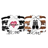 Bestchong Hombres Botas altas negro patrón esquema pulsera correa de mano cuerda de cuero Forever Love pulsera doble conjunto