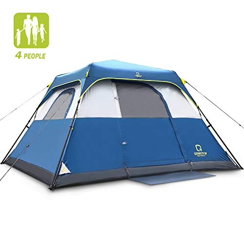 QOMOTOP Tent for Camping, 4 Person Instant Tent Equipped with Rainfly and Carry Bag, Water-Proof Pop up Tent with Electric Cord Acess, Light Weight Cabin Style Tent, Delivered Within 3-5 Working Days