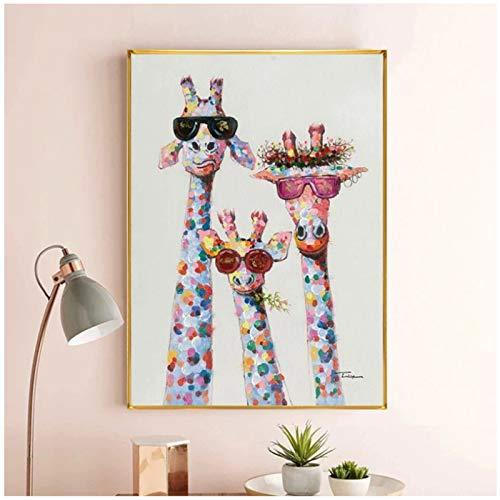 Bunte Giraffe Tier Familie Poster Gemälde Wandkunst Bild Cuadros für Kinder Wohnzimmer Home Decor Poster Ölgemälde 50x70cm (20x28in)