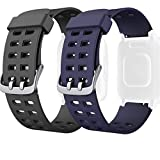 ID205 ID205L Ersatzband, verstellbar, weiches Silikon, Smartwatch, Ersatzarmband für ID205L ID205 Sport Fitness Tracker Smart Watch Armband (schwarz + blau)