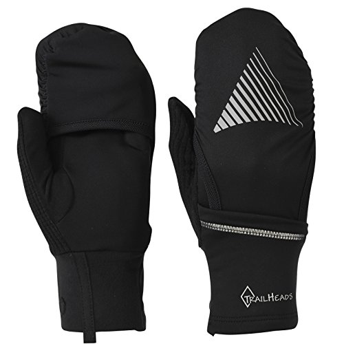 TrailHeads Men's Convertible Running Gloves - black/reflective (small/medium)