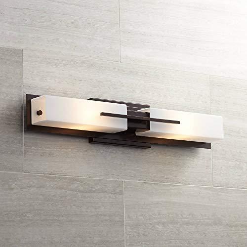 "Midtown Mid Century Modern Wall Mount Light Bronze Metal Hardwired 23 1/2"" High Light Bar Fixture White Glass for Bathroom Vanity Mirror House Home Room Decor - Possini Euro Design"