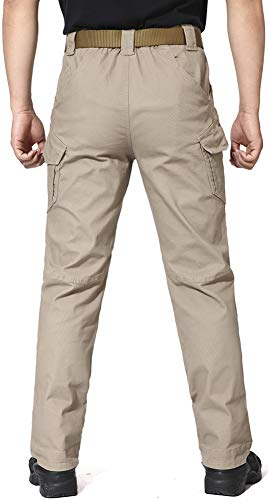 TACVASEN Mens Cargo Trousers Multi Pockets Outdoor Casual Trousers Winter Cotton Work Trousers Khaki