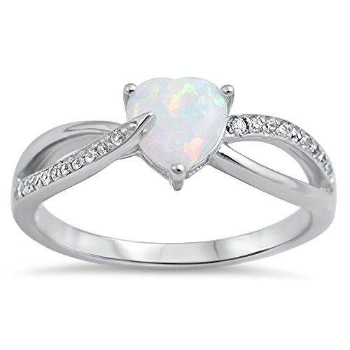 Clear CZ White Simulated Opal Heart Promise Ring .925 Sterling Silver Band