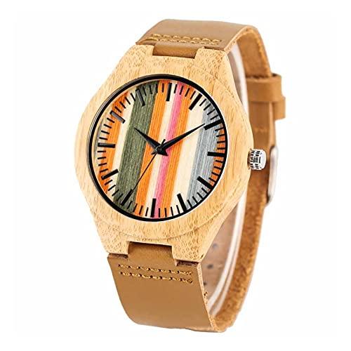 Reloj de bambú y Madera, Personalidad Casual Barra Negra Color de uñas Dial de Rayas, Natural y Seguro Hecho a Mano, Respetuoso con el Medio Ambiente, Damas