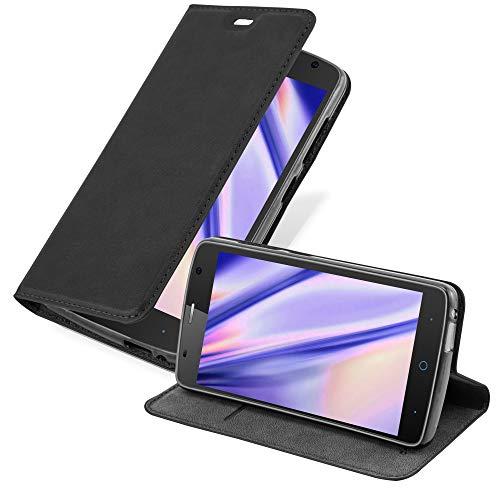 Cadorabo Hülle für ZTE Blade L5 Plus in Nacht SCHWARZ - Handyhülle mit Magnetverschluss, Standfunktion & Kartenfach - Hülle Cover Schutzhülle Etui Tasche Book Klapp Style