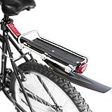 WASAGA Portapacchi Posteriore per Bici, Portapacchi per Biciclette Regolabile con parafango e riflettore, Portapacchi per reggisella a sgancio rapido, capacità 30-100 kg (Portapacchi)
