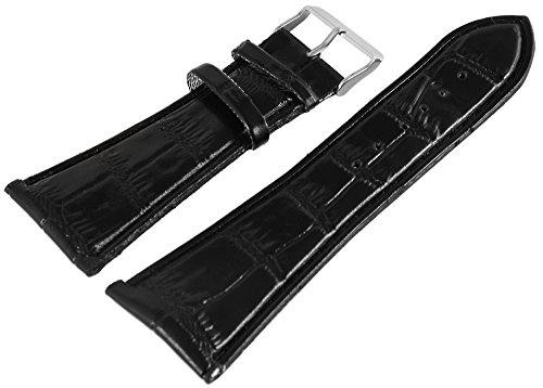 Leder Uhrenarmband Uhrenband Uhrband Ersatzband Armband schwarz mit Nahtfarbe schwarz und Kroko-Optik Prägung RP8321030075 Dornschließe schwarz, Stegbreite 30mm, Gesamtlänge 19 cm, Bandstärke 3 mm