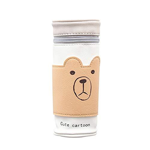 Dosige' PU Leder Cartoon Kaffeetasse Stifttasche Multifunktions Wasserdichte Reißverschluss Schreibwaren Tasche tragbare Karikaturkunst Zeichnung Aufbewahrungstasche