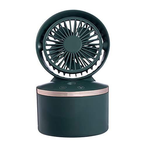Spray Agua Fan de refrigeración portátil USB Humidificador Recargable Aire Acondicionado Cooler Desktop Fan Ventilador automático Mini Fan (Color : Verde)