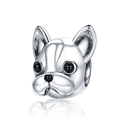 Abalorio para colgar de perrito «You & Me», hecho de plata de ley 925 para pulseras , compatible con pulseras europeas