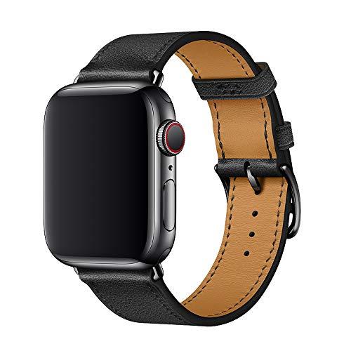 XCool pour Bracelet Apple Watch 44mm 42mm, Cuir Noir Bande de Remplacement pour iwatch Series 5 Series 4 Series 3 Series 2 Series 1 Hermes