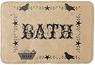 """Aomsnet Primitive Bath Bathroom Decor Mat, Shower Rug Mat Water Absorbent Fast Drying Kitchen, Bedroom, Hotel, Spa Tub.24 L X 16"""" W Inches with Non Slip Backing Bath Mat."""