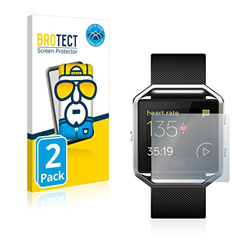 BROTECT Full-Cover Schutzfolie kompatibel mit Fitbit Unisex Fitness Uhr Blaze (2 Stück) - Full-Screen Bildschirmschutz-Folie, 3D Curved, Kristall-Klar