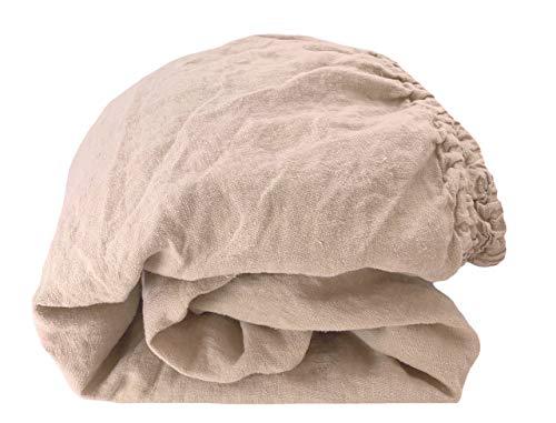 JOWOLLINA Spannbettlaken aus 100% Leinen Stonewashed (180 x 200+25, Soybean)