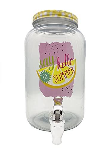Dispensador de bebidas con grifo – Recipiente de cristal de 3 L – Expendedor de refrescos summer