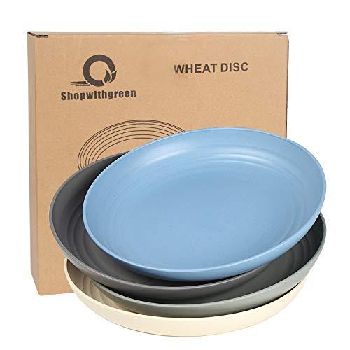 Shopwithgreen Teller/4er 8.8 Inch Plate/Weizenstroh Abbaubar Gesunde Teller/Mikrowellen & Spülmaschinenfest Dinner Geschirr-Ohne BPA & Umweltfreundlich