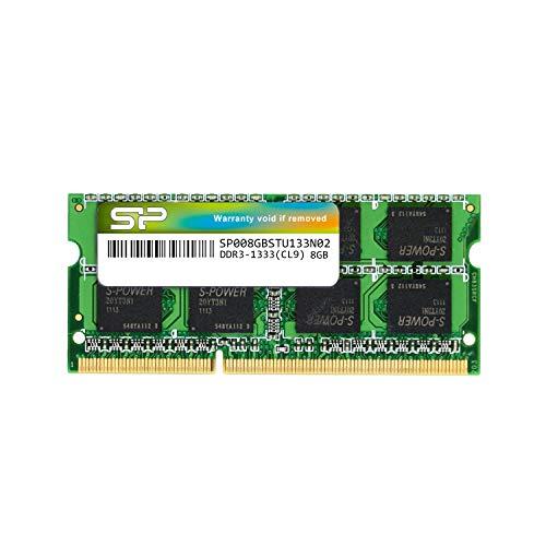 シリコンパワー ノートPC用メモリ 204Pin SO-DIMM DDR3-1333 PC3-10600 8GB 永久保証 SP008GBSTU133N02