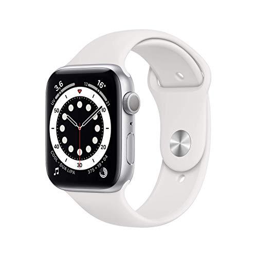 Novità AppleWatch Series6 (GPS, 44mm) Cassa in alluminio color argento con Cinturino Sport bianco