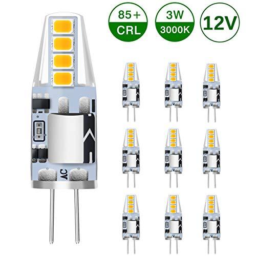 KINGSO G4 LED Lampe 3W 250lm Warmweiß 3000K ersetzen Halogenbirnen 25W 360 ° Abstrahlwinkel G4 LED Leuchtmittel Stiftsockellampe AC/DC 12V 10er Pack - Nicht dimmbar