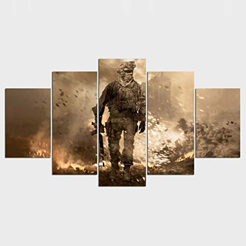 WFUBY 5 Pieces Canvas Printing Decorative Paintings HD Canvas Painting 5-Piece Call of Duty Soldier Decoration Pictures Bedroom Oil Painting Home decoration-30x40x2 30x60x2 30x80cm