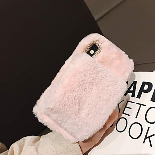 Artfeel Weich Plüsch Hülle für iPhone 7, iPhone 8 Pelzig Handyhülle Winter Warm Faux Pelz Armband Griff Halter Hülle,Handgefertigt Haar Flauschige Glitzer Diamant...