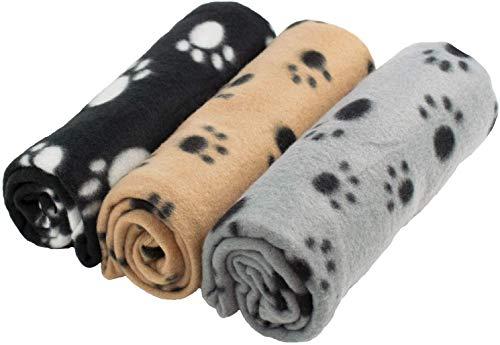jaosn 3 x Manta de forro polar suave lavable para mascotas, perros, gatos, cachorros, suave y cálida (70 x 100 cm)