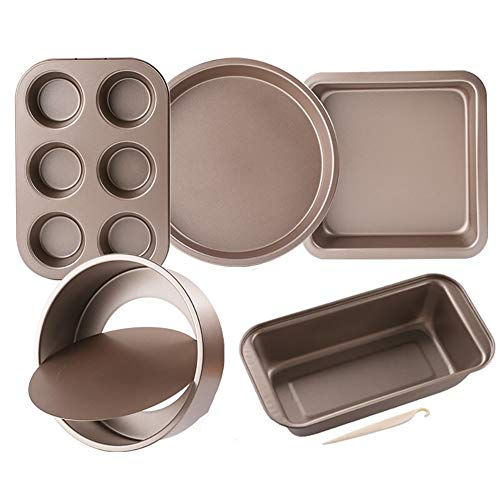 Z·Bling Nonstick Bakeware Baking Set 5 Piece,Carbon Steel Cake Pans Set,Bakeware Baking Tray with Bread Pan Cookie Sheet and Cake Pans for Home Baking