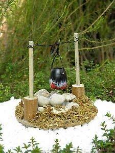 cdc Miniature ~ Wood Stone Fire Pit Campfire Firepit w/Pot & Light