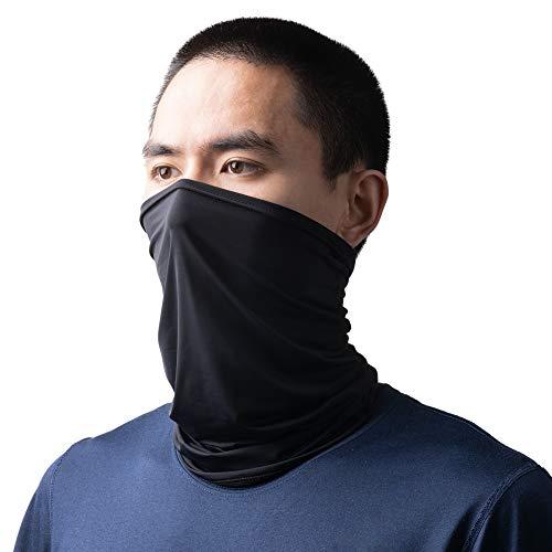 HYSENM Herren/Damen Halstuch Schlauchtuch atmungsaktiv UPF 50+ kühl hochelastisch (Schwarz)