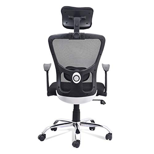 Chairwale ® Jazz High Back Swivel Mesh Revolving, Height Adjustable, Fixed PP Armrest, Lumbar Support, Ergonomic Polypropylene Chair for Home, Conference Room, Computer, Study, Office (Black-B7191)
