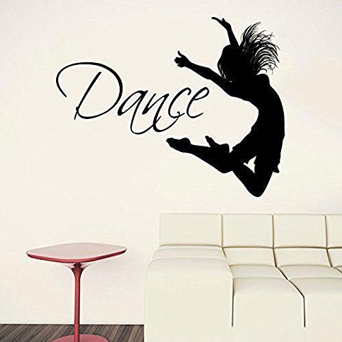 Calcomanía de pared de gimnasia con silueta de bailarina con cita de baile, pegatina para dormitorio de niñas, decoración del hogar, decoración Interior extraíble A2 73x57cm
