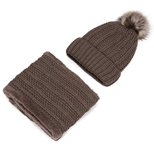 ZZBO Mütze Beanie Wintermütze Skimütze Warm Mütze Damen Plus Dicke Strickmütze Schal Set Sehr Weichem Cap Sleeve mit Fleecefutter und Bommeln