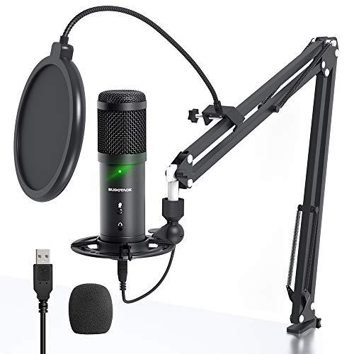 Microfono USB per PC, Monitoraggio Senza Latenza SUDOTACK Kit Microfono Cardioide da Studio Professionale 192 kHz   24 bit con Pulsante di Disattivazione Dell audio, per Podcast, Giochi, YouTube