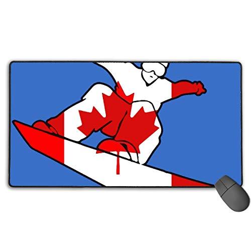 Großes Gaming Mauspad/Matte Kanada Flagge Snowboard Custom Mauspad mit Rutschfester Gummiunterseite für Gaming-Sensoren, langlebige genähte Kanten