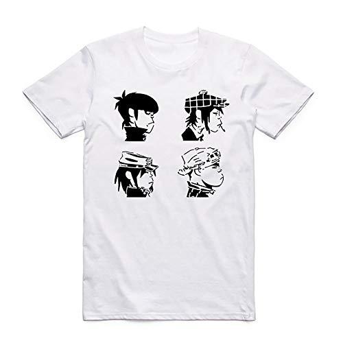 Gorillaz T-Shirt Klassische Art und Weise Kurz-Hülsen-Shirt-lose beiläufige dünne runde Ansatz-mit Kapuze T-Shirt Baumwoll Wilder Trend Halbarm Short Sleeve T-Shirt Top Unisex