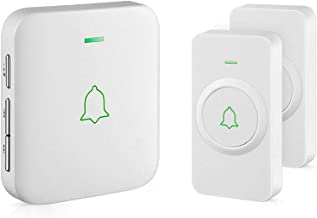 AVANTEK CW-21 Waterproof Wireless Doorbell Operating at Over 1000 Feet, 2 Remote Buttons Can Have Different Tones, 52 Melo...