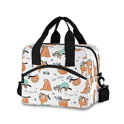 BOLOL - Bolsa de almuerzo reutilizable con aislamiento para mujeres y hombres, bolsa de almuerzo con correa ajustable para el hombro para picnic, escuela, trabajo, oficina