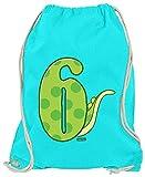 Hariz Turnbeutel Dinosaurios Número con cola 6 cumpleaños Geschenkidee Plus Geschenkkarten, azul azur (Azul) - SechsterGeburtstag07-WM110-35-1
