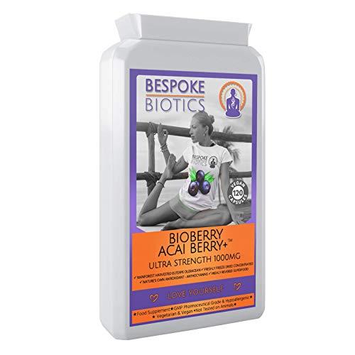 Bespoke Biotics Acai Berry + Ultra Strength 2000mg - BIOBERRY 120-200% Anthocyane - Gefriergetrocknete Acai Berry - Reinigen, Entgiften, Energie, Antioxidans | Gehirn | Herz | Entzündung