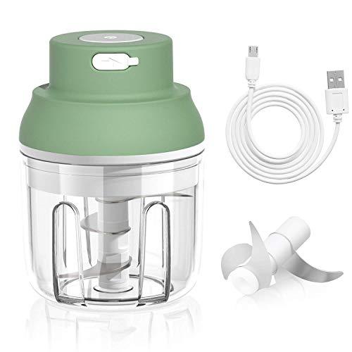 Electric Mini Garlic Chopper, Mini Chopper Food Processor for Chop Onion Garlic Vegetable Pepper Meat Salad and Baby Food, 250ML Portable&Wireless Garlic Chopper