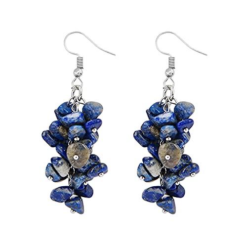 EMFGJ Pendientes de piedras naturales con piedras preciosas de cristal, pendientes de moda con gancho de piedra, regalo para mujeres y niñas, oro verde