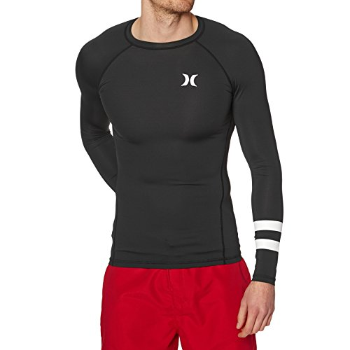 Hurley Herren Long Sleeve Pro Light Quick Dry Sun Protection Rashguard Hemd, schwarz, Small