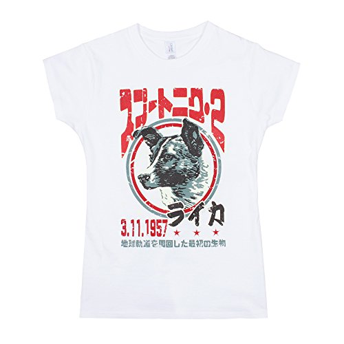 Laika The Space Dog T Shirt – japonais pour homme – soviétique/Japon Retro Kawaii T-shirt imprimé pour femme pour femme - Blanc - Small