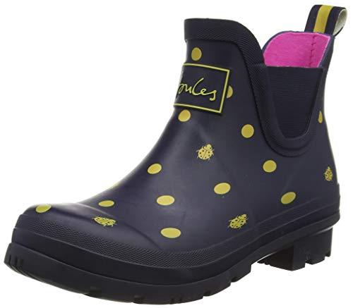 Joules Women's Wellibob Rain Boot, Navy Ladybird, 8